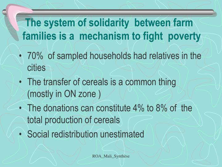 The system of solidarity  between farm families is a  mechanism to fight  poverty
