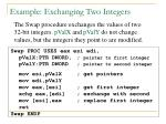example exchanging two integers