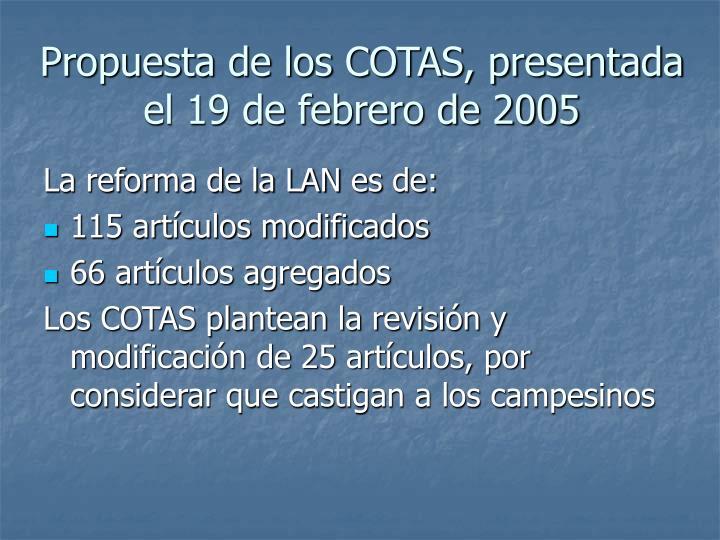 Propuesta de los COTAS, presentada el 19 de febrero de 2005