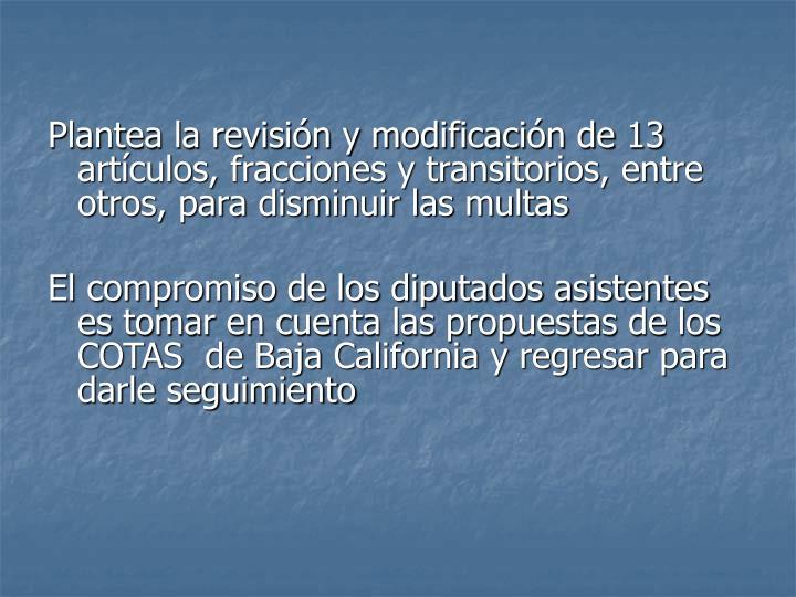 Plantea la revisión y modificación de 13 artículos, fracciones y transitorios, entre otros, para disminuir las multas