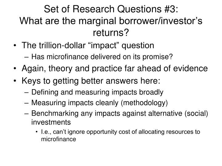Set of Research Questions #3: