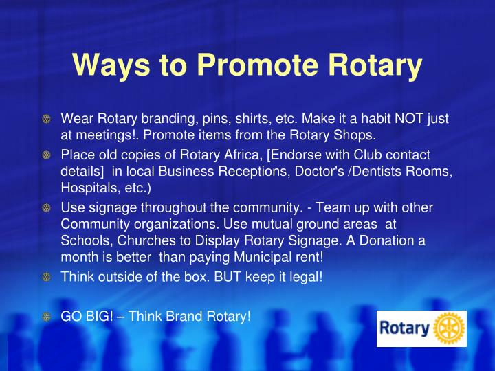 Ways to Promote Rotary