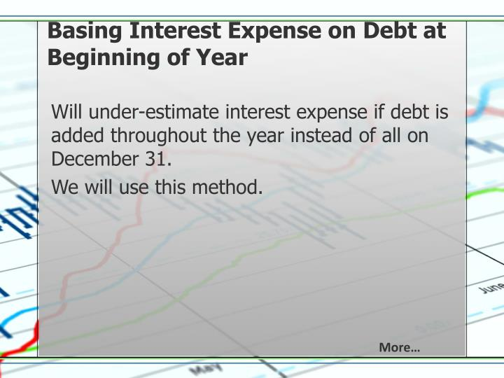 Basing Interest Expense on Debt at Beginning of Year