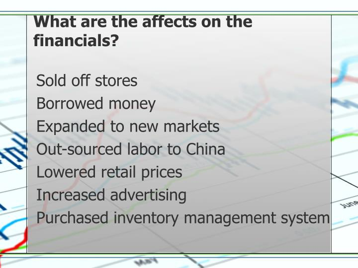 What are the affects on the financials?