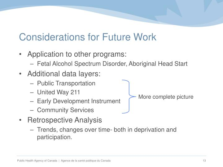 Considerations for Future Work