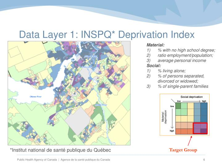 Data Layer 1: INSPQ* Deprivation Index