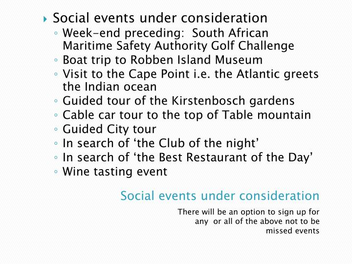 Social events under consideration