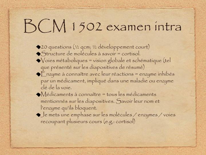 Bcm 1502 examen intra