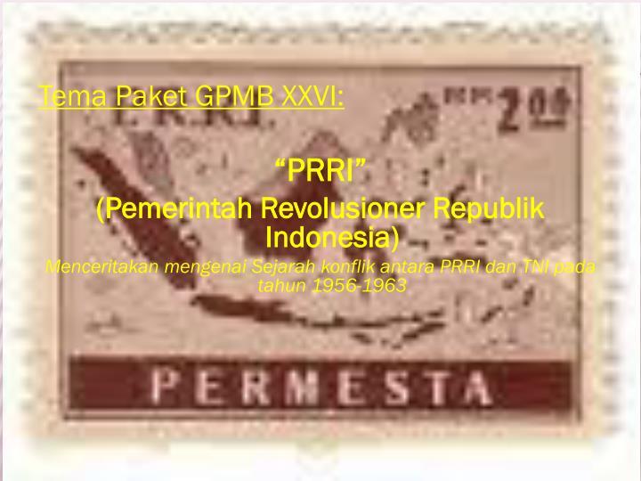 Tema Paket GPMB XXVI: