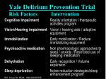 yale delirium prevention trial risk factors intervention