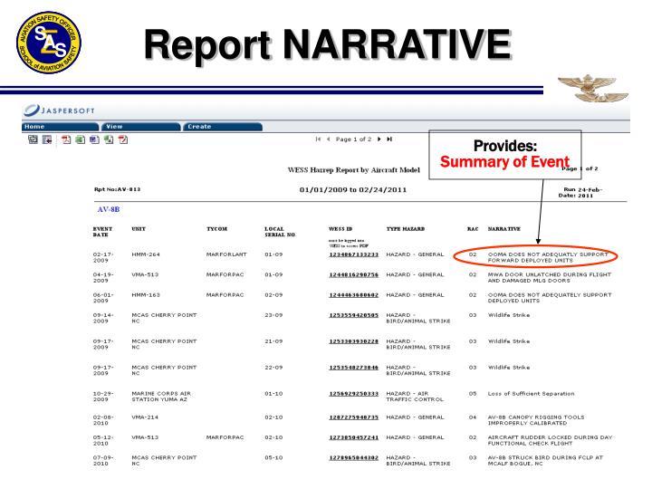 Report NARRATIVE