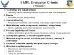 9 mrl evaluation criteria threads