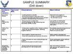 sample summary drill down
