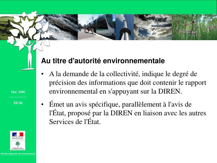 Au titre d'autorité environnementale