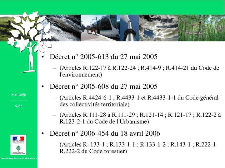 Décret n° 2005-613 du 27 mai 2005