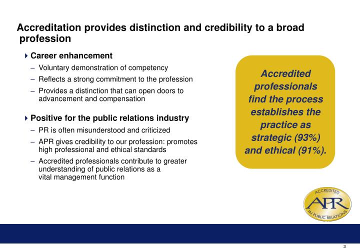 Accreditation provides distinction and credibility to a broad