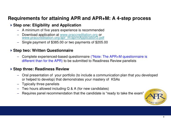 Requirements for attaining APR and APR+M: A 4-step process