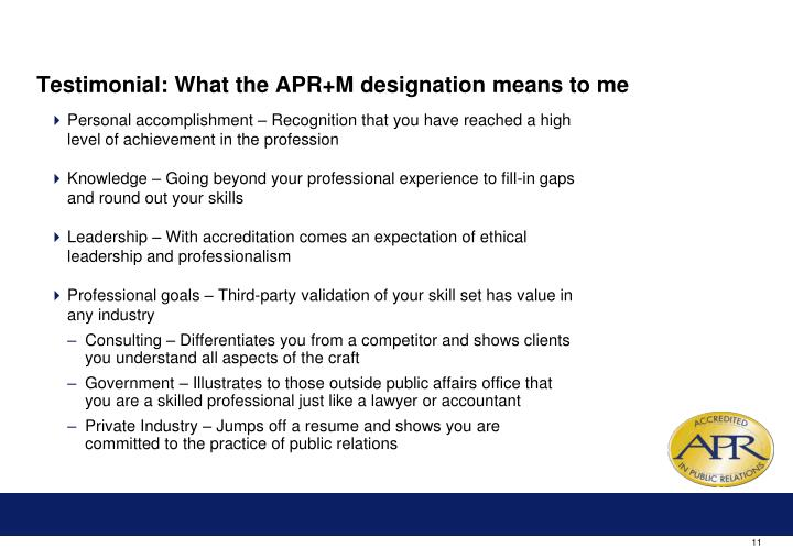 Testimonial: What the APR+M designation means to me