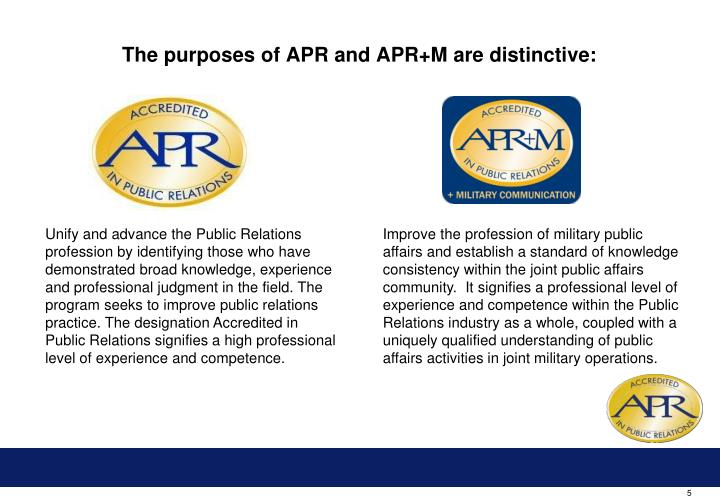 The purposes of APR and APR+M are distinctive: