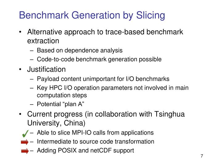 Benchmark Generation by Slicing