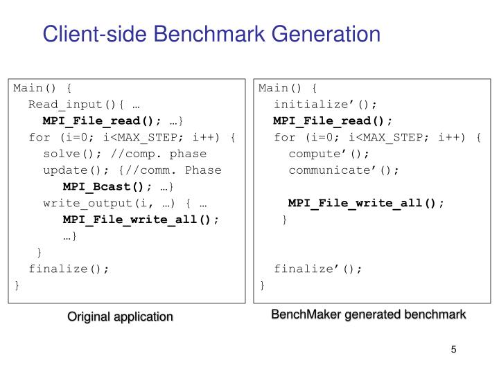 Client-side Benchmark Generation