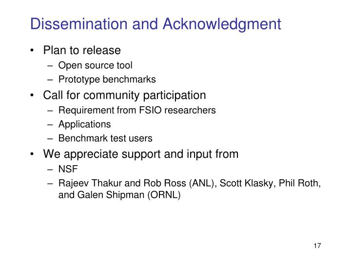 Dissemination and Acknowledgment
