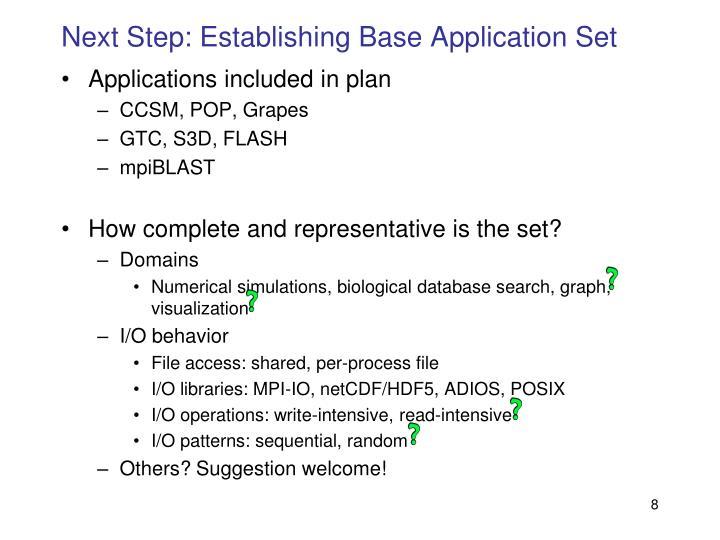 Next Step: Establishing Base Application Set