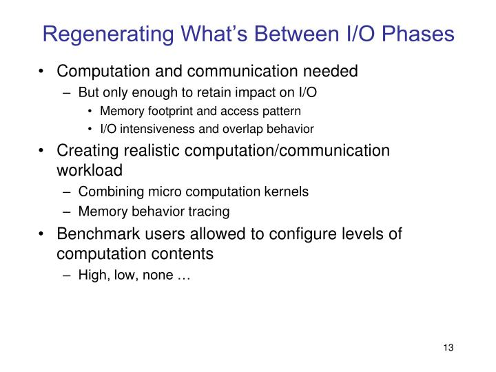 Regenerating What's Between I/O Phases