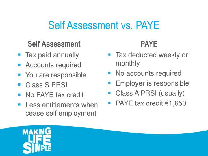 Self Assessment vs. PAYE