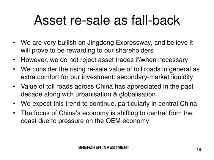 Asset re-sale as fall-back
