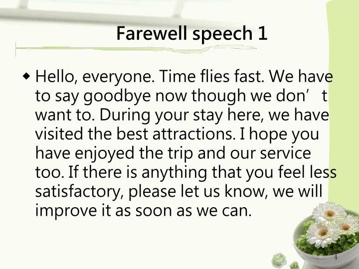 Farewell speech 1