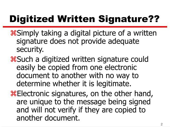 Digitized written signature