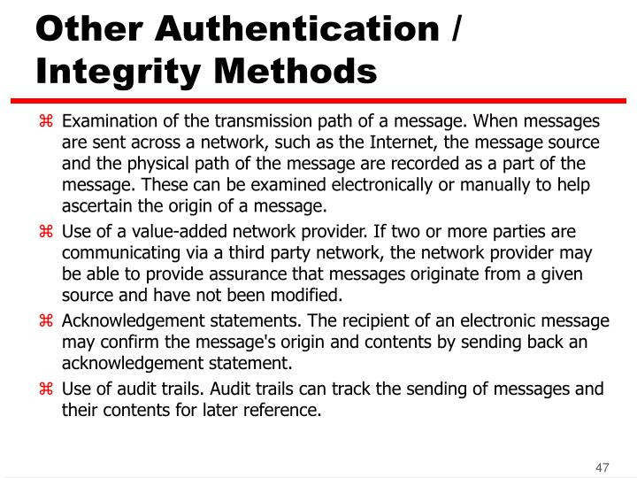 Other Authentication / Integrity Methods