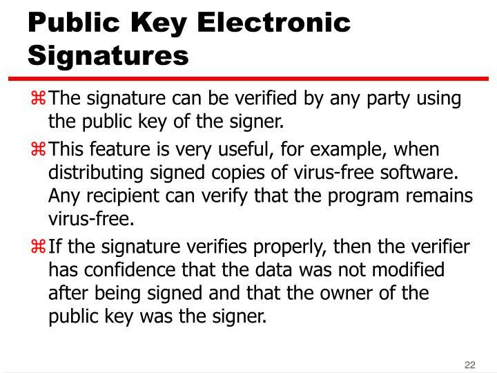 Public Key Electronic Signatures