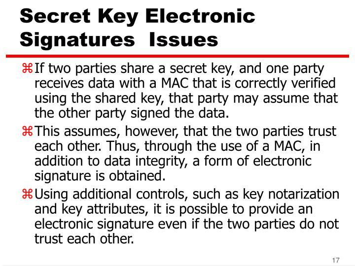 Secret Key Electronic Signatures  Issues