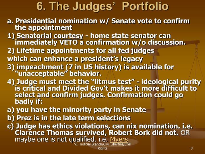 6. The Judges'  Portfolio
