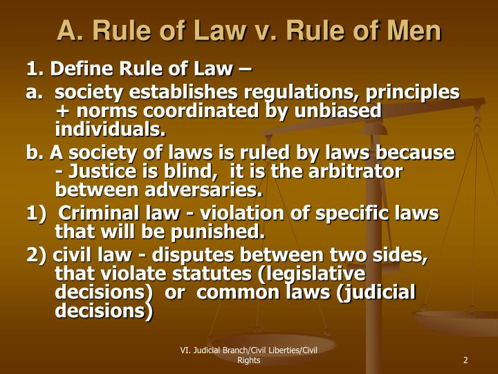 A rule of law v rule of men