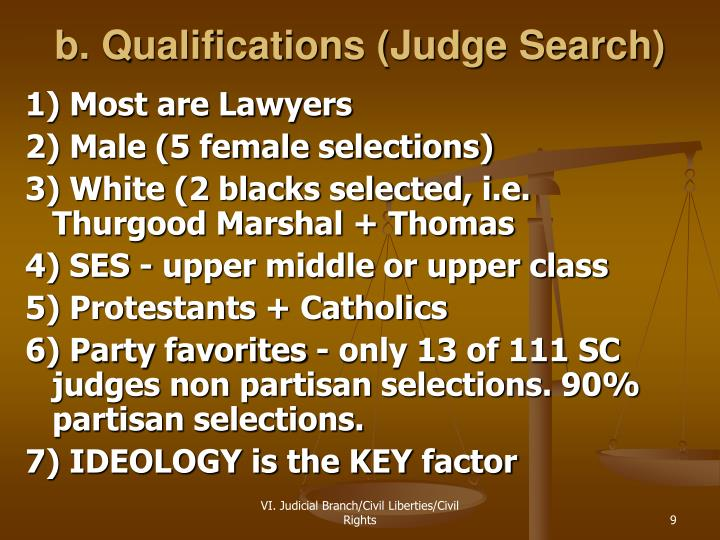 b. Qualifications (Judge Search)