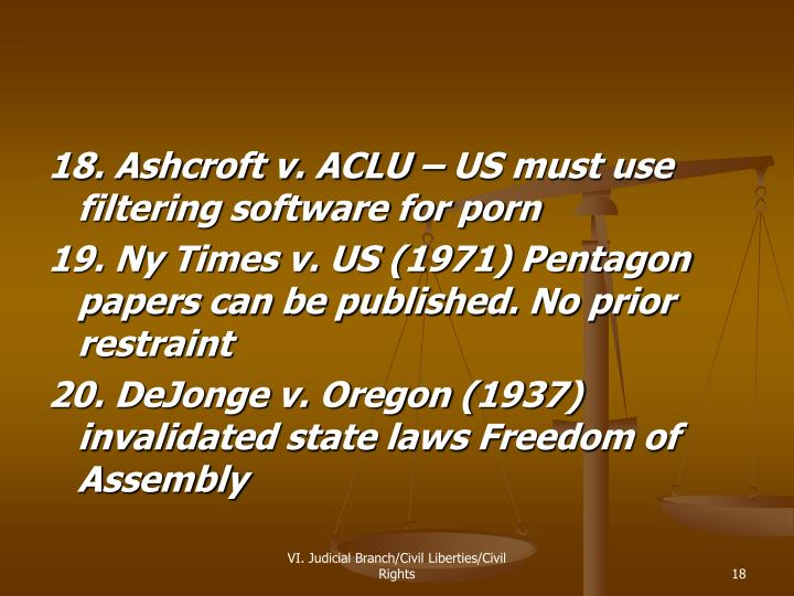 18. Ashcroft v. ACLU – US must use filtering software for porn
