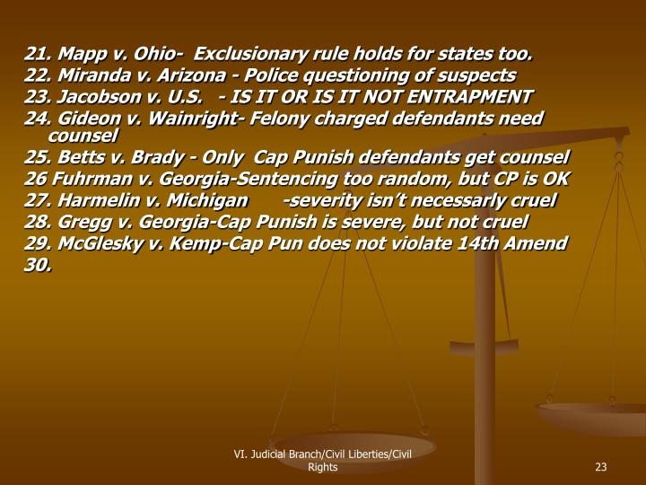 21. Mapp v. Ohio-  Exclusionary rule holds for states too.