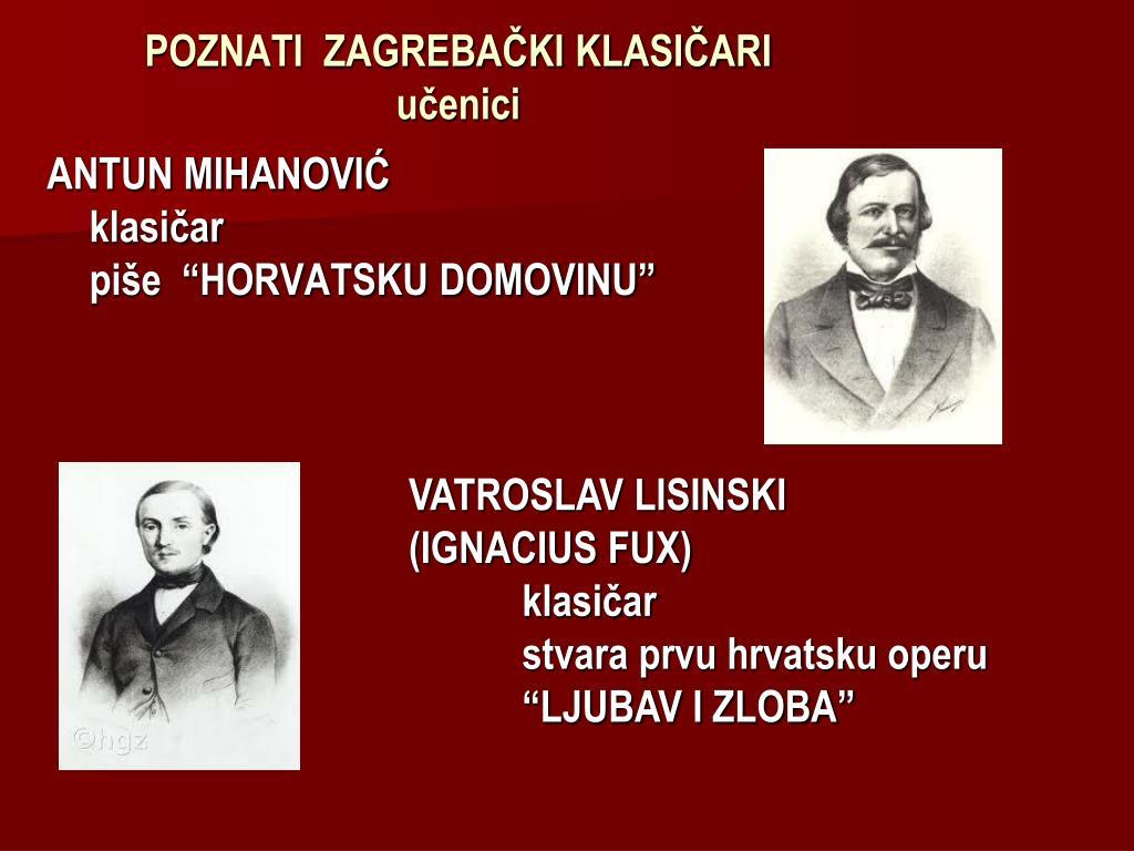 Ppt Poznati Zagrebacki Klasicari Powerpoint Presentation Free
