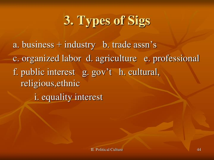 3. Types of Sigs