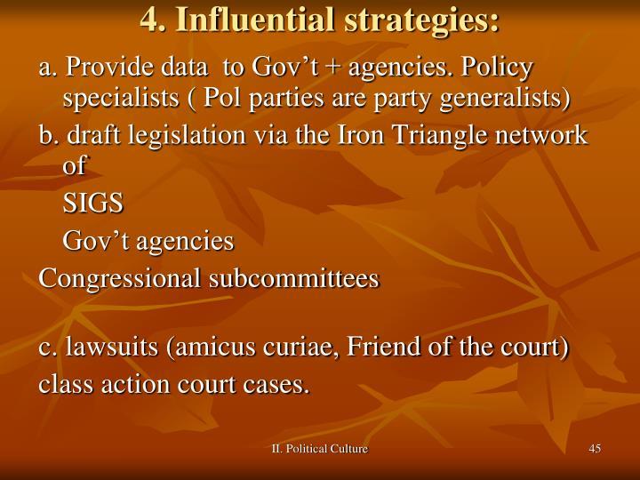 4. Influential strategies: