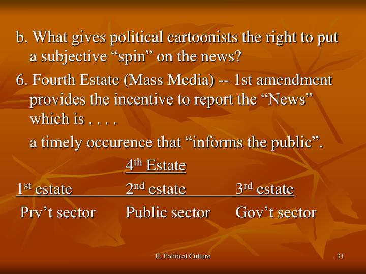 """b. What gives political cartoonists the right to put a subjective """"spin"""" on the news?"""