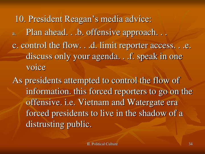 10. President Reagan's media advice: