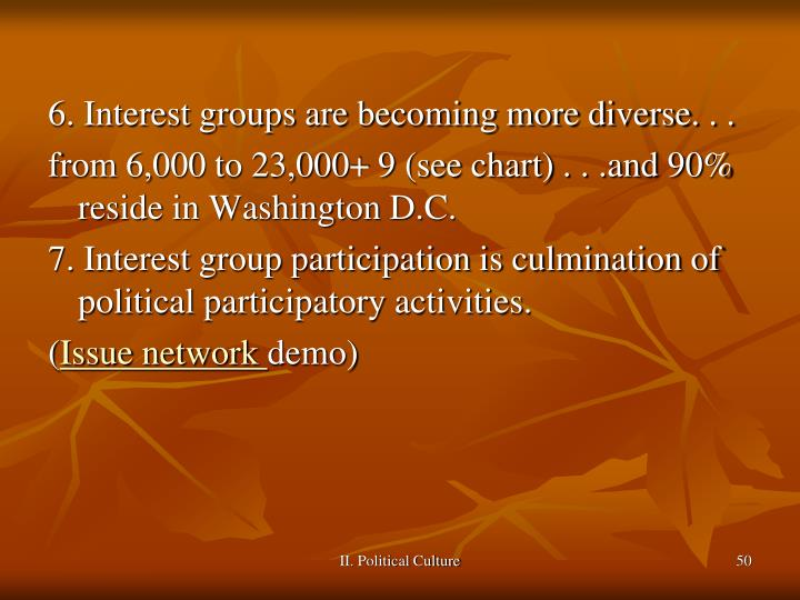 6. Interest groups are becoming more diverse. . .