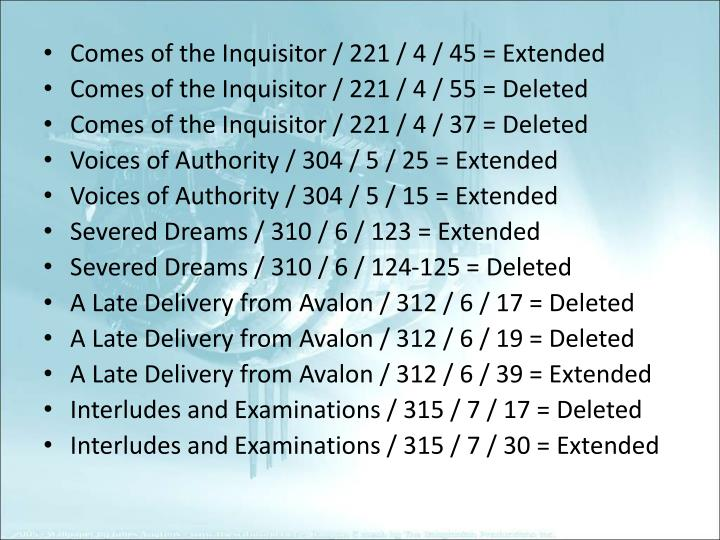 Comes of the Inquisitor / 221 / 4 / 45 = Extended