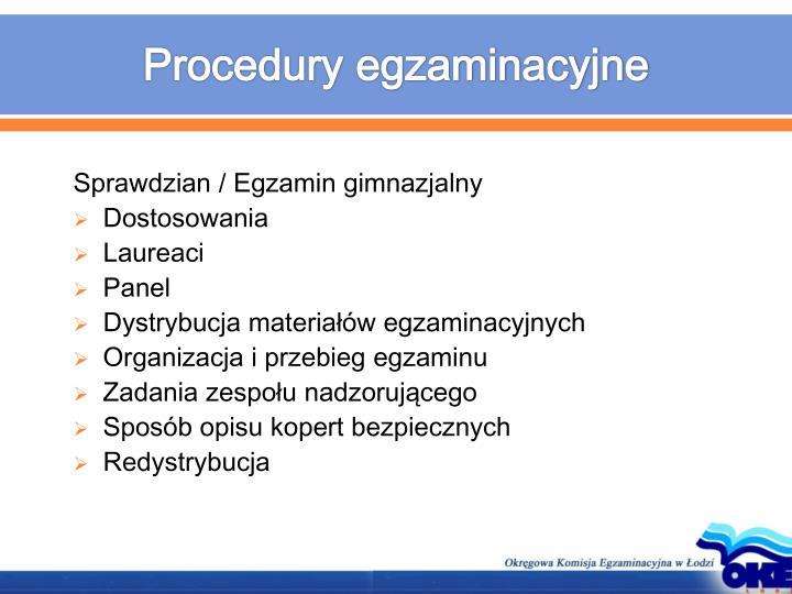 Procedury egzaminacyjne