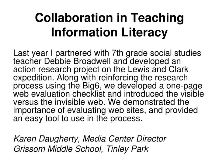 Collaborative Teaching Research ~ Ppt keith curry lance marcia j rodney christine