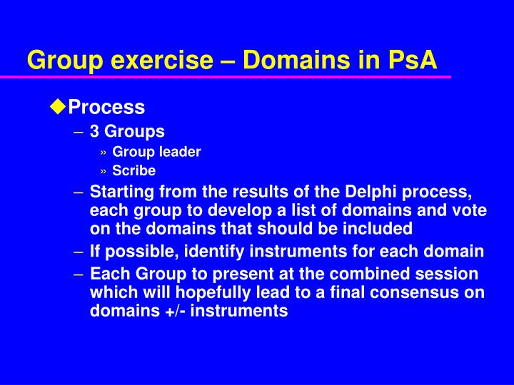 Group exercise – Domains in PsA
